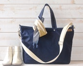 WAXED CANVAS Diaper bag Dark Navy Tote /Messenger bag / Nautical Tote / Weekender / Work bag / Men messenger / Travel bag /Zipper  5 Pockets