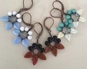 Handmade Wire Wrapped Leaf Flower Earrings, Czech Glass, MTO