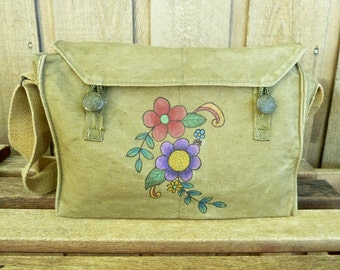 Flower Power - Vintage Canvas Army Messenger Bag / Purse - Hand Painted