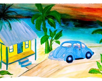 Blue VW Beach Bug throw blanket from my art.