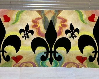 Fleur de lis and hearts body pillow case from my art