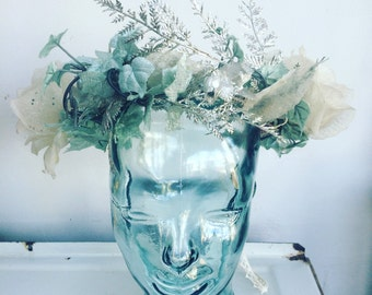 Frost winter crown headpiece roses silver glitter