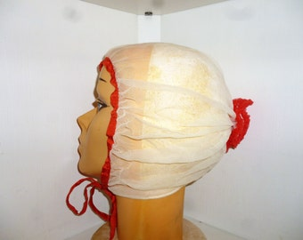 Antique - Sheer -  Silk Tulle -  Silk Ribbon - White - Red - Ruffled  - Bonnet - Night Cap - Shower - Hat