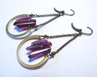 Quartz Crystal Point Earrings Garnet Swing Raw Rough Stone Jewelry Maroon Purple Magenta Azeeta Designs