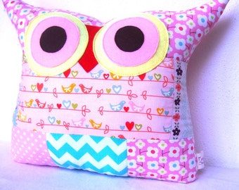 Patchwork/ pink/Aqua/Decoration Owl pillow/for children /girl /large size /Ready to ship