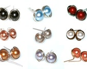 Pick Your Pearl Post Earrings. Wire-wrapped Stud Earrings