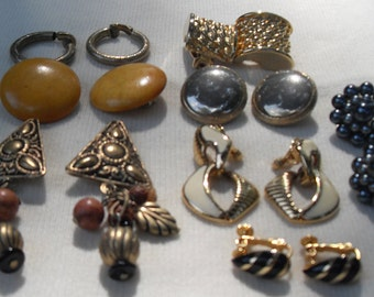 FREE SHIPPING Lot 8 Pair Vintage Clip Earrings No. 4 Variety of Styles and Colors Ready to Wear