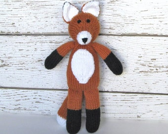 Hand Knit Fox, Soft Stuffed Animal Toy, Ready To Ship, Woodland Plush Doll, Baby Shower Gift, Stuffed Fox, Baby Toy, Toddler Gift 13 1/2""