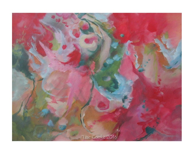 Original Mixed Media Expressionist Art Abstract Painting. Musing139 red green pink Contemporary Modern