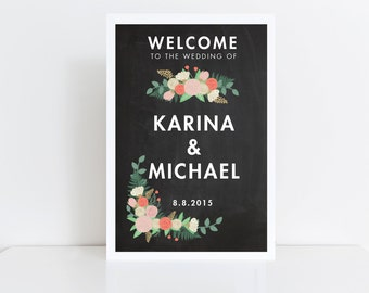Large Wedding Welcome Sign // Welcome Wedding Sign // Vintage Wedding Sign // Reception Sign // Chalkboard Sign // Welcome Poster // Printed