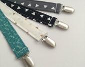 Designer Fabric Soother Clip - Soo String - Binky Leash - Pacifier Holder - Toy Strap - Geometric Grey Gray Black Arrow Triangle Gold Glitz