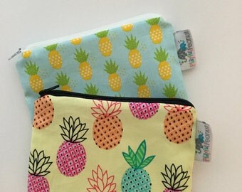 Reusable Machine Washable Zippered BPA-Free Snack-Loc Large Sandwich Small Snack Bag - Blue Aqua Yellow Pineapple Fruit Hawaii