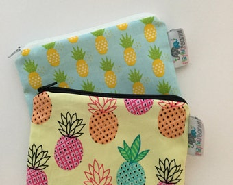 Reusable Snack Bag, Reusable Zipper Bag, Reusable Sandwich Bag, Zipper Pouch, Reusable, Pineapple Snack Bag, Lunch Bag, Reusable Bag