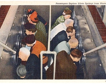 Vintage Florida Postcard - Passengers explore Silver Springs from Photo-Sub (Unused)