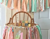 First Birthday Party Decoration. Girls High chair Garland Boho Baby High Chair Banner with Burlap Flag. Coral and Mint Garland