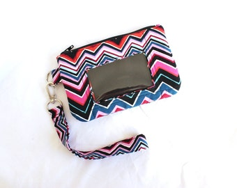 cell phone wallet - id pouch - zip id holder - card holder wallet - small wallet - mobile phone wristlet - id holder wallet - pink chevron