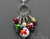 Christmas Charm Necklace with Lampwork Beads by Whitney Lassini