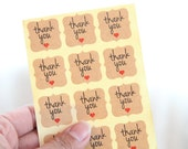 36 Thank You With Red Heart Kraft Stickers/Seals - FREE SHIPPING with other purchase