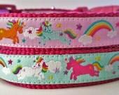 Rainbows and Unicorns - Dog Collar / Handmade / Adjustable / Pet Accessories / Gift Idea / Pet Lover