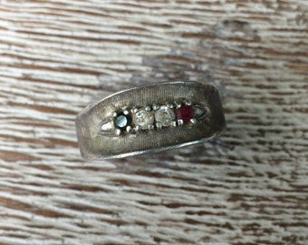 Vintage Silver Ring Ruby Sapphire Diamond Ring Sterling Silver