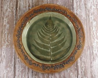 Ceramic Plate - Charger - Fern Leaf - Handbuilt Pottery Serving Plate - Green Brown - 587