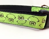Christmas Dog Collar, Grinch,1 inch wide, adjustable, quick release, metal buckle, chain, martingale, hybrid, nylon