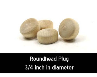 Unfinished Wood Roundhead Plug Button - 3/4 inches in diameter wooden shapes (WW-BR0750)