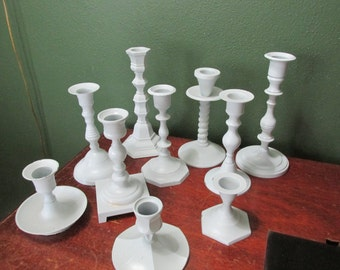 Candle Holders 10 Wedding White Wood and Metal Choose One Set of Ten