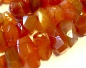 """Carnelian side drilled faceted nuggets gemstone beads 4"""""""