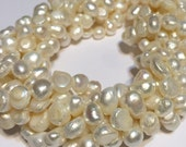 Ivory colored nugget pearls full strand baroque random shape pearls whole strand sale