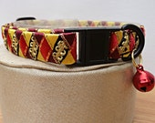 """1/2"""" Wide Breakaway Cat Collar Gold and Red"""