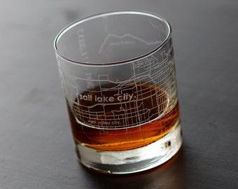 Salt Lake City Map Rocks Glass
