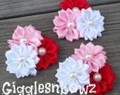 "Satin Ribbon Flowers- Valentines Day Pinwheel Flower Cluster- Headband Flowers- Diy Supplies- Fabric Flowers- Petite 2"" Flowers"