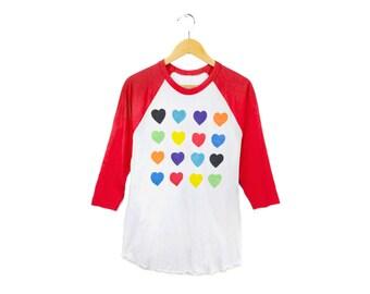 Grid Hearts Raglan Tee - 3/4 Sleeve Crew Neck Boyfriend Fit Baseball Tshirt in Red White and Rainbow - Women's S-3XL