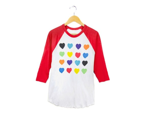 Grid Hearts Raglan Tee - 3/4 Sleeve Crew Neck Boyfriend Fit Baseball Tshirt in Red White and Rainbow - Women's S-3XL