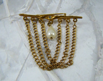 Pretty Vintage Brooch Pearl and Chain Brooch Dainty and Delicate Brooch Pin - PLUS A Bonus :)