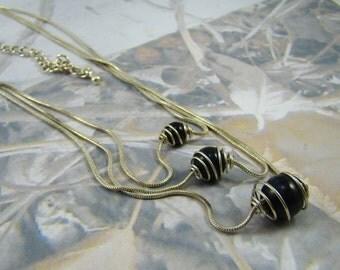 Vintage 3 Chain Necklace Far Out Orbit Metal Wrapped Black Balls of Different Sizes - PLUS a Bonus!