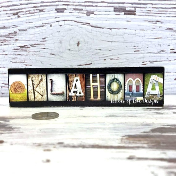 OKLAHOMA Wood Sign State City Name Photo Letters Travel Picture Map Alphabet Photography Boyfriend Gift Husband Present Fathers Day Mancave