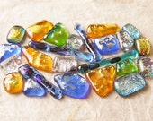 Lot of 24 Dichroic Fused Glass Beads Cabs Cabochons