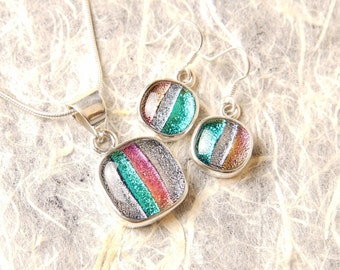 Dichroic Sterling Silver .925 Fused Glass Pendant Necklace Earrrings ...matching set...