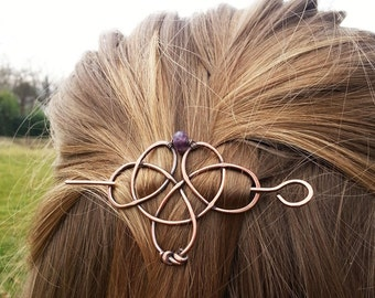 Valentine day gift for women Copper hair clips Boho hair pin celtic Shawl pin Womens Gift For her Rustic copper hair barrette Celtic knot