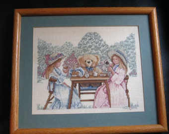 """Vintage 1990 Cross Stitch Picture, Tea Party, Two Girls & Teddy Bear, 10.5""""x8.5"""" Picture""""  12.5""""x14.6"""" Frame, Signed MWE, Print Shop Framed"""