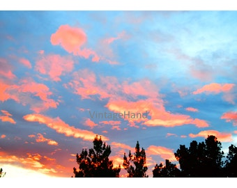 Sedona Sunset Digital download / Arizona / bright pink clouds / blue stormy clouds / sky / Photograph / Art download / Home Decor
