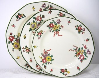 Royal Doulton Old Leeds Spray / 2 bread plates 2 salad and 12 luncheon / green rim red bows multicolor flowers / Christmas Spring versatile