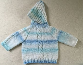 Baby Hoodie Sweater Infant Hooded Sweater With Back Zipper White Blue 0 to 6 Months Free US Shipping
