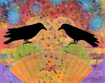 Whimsical Art, Raven Gallery Wrapped Canvas Print - Two Ravens Sit & Reflect on Love