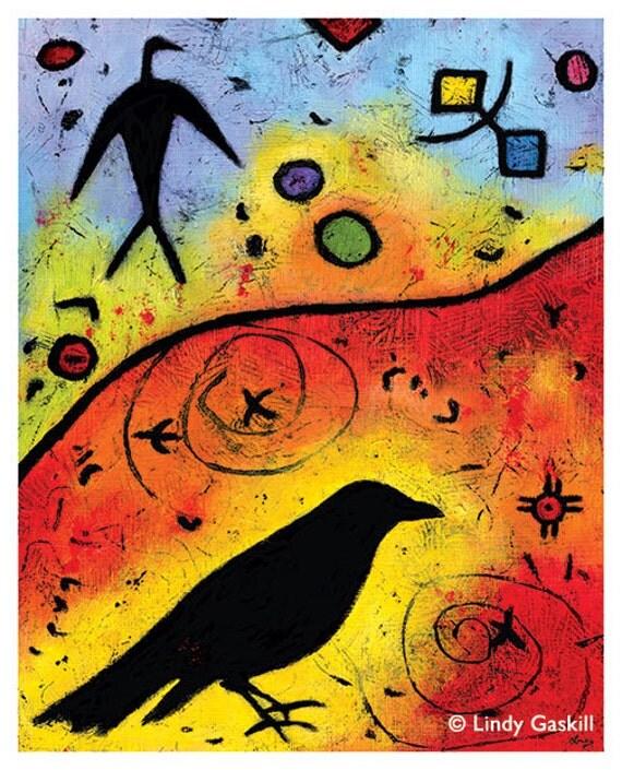 "Crow Archival Print - Raven Lights The Sky - 8"" x 10"""