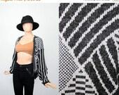 SALE Vintage 80s Slouchy Sweater / 1980s Boyfriend Cardigan / Knit Jacket Top / Mod Geometric Cardi Jumper / Slouch Fit / Small / Medium / L