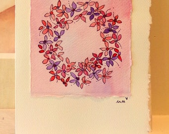 "Lovely Flower Wreath Pinks and Purples Watercolor Original ""Big Card"" 5x7 With Matching Envelope  betrueoriginals"