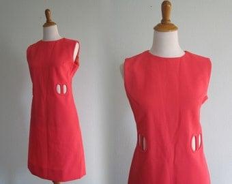 Vintage Mod Dress - Groovy 60s Pink Go Go Dress - Vintage Mod Pink Shift Dress with Cutout Bodice - Vintage 1960s Dress L
